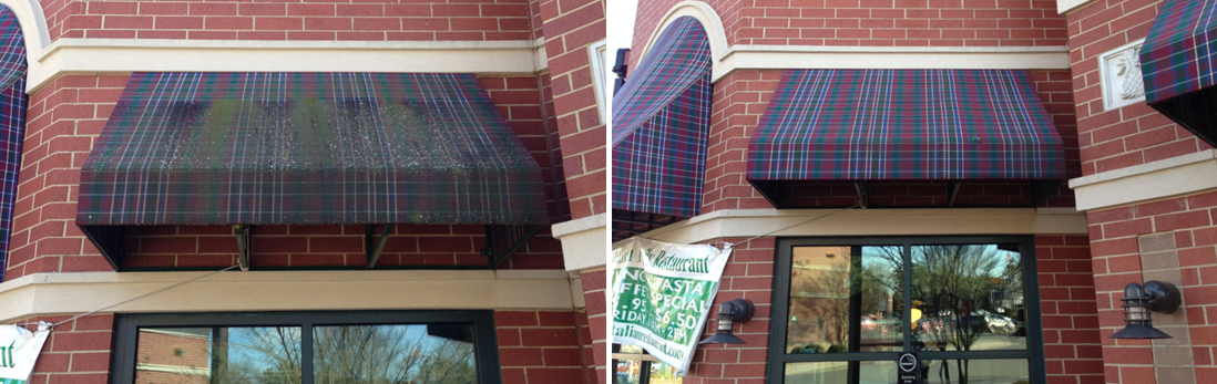 Plaid Awning Before and After Processing